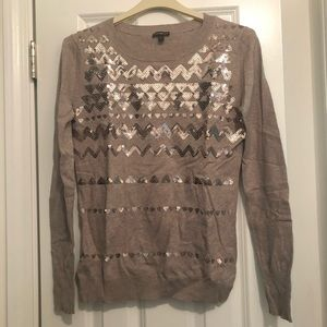 Express Sequin gold and taupe chevron sweater
